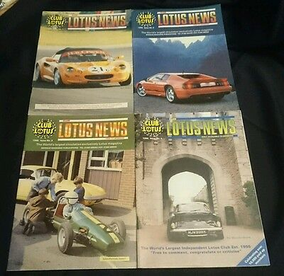 CLUB LOTUS NEWS - Owners Club Magazine All 4 Issues from 1998