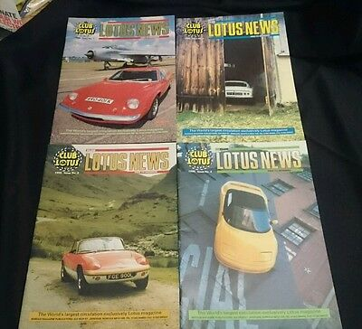 CLUB LOTUS NEWS - Owners Club Magazine All 4 Issues from 1996