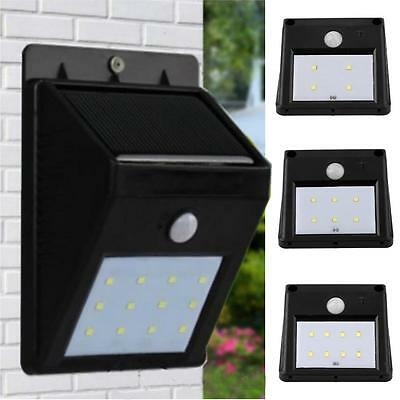 Waterproof Motion Sensor 12LED Solar Power PIR Wall Light Outdoor Garden Lamp UK