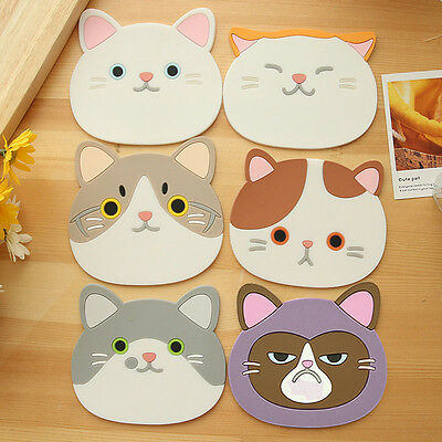 Cute Cat Pattern Silicone Insulation Placemat Coaster Cup Bowl Mat Decor Sturdy