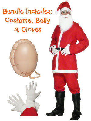 Mens Santa Suit + Inflatable Belly + Gloves Costume Father Christmas Fancy Dress