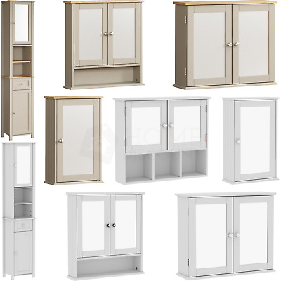 Milano Bathroom Cabinet Single Double Mirrored Doors Wall Mounted Tallboy Units