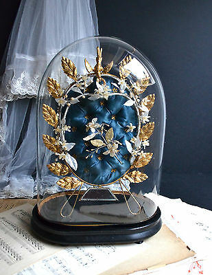 Antique French Glass Wedding Dome Ormolu Globe de Mariée Display Cloche Bell