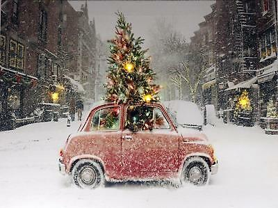 Christmas Decoration Light Up LED Canvas Wall Picture - Mini Car With Tree