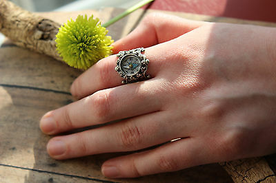 Compass Ring Crown Set Real Compass on Filigree ring Fall gift Christmas idea