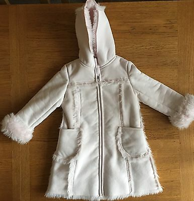 Stunning Junior J Pale Pink Faux Fur & Suede Coat Age 3-4 Years