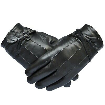 Womans Genuine Leather Ladies Gloves Soft Winter Stylish Black Buckle Finish