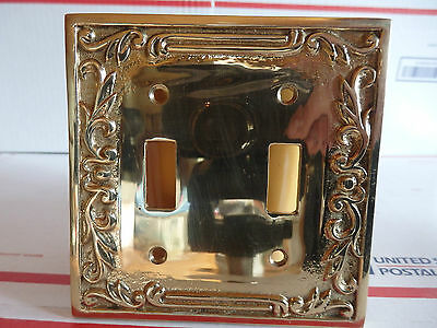 Ornate Cast Brass Double Wall Switch Plate