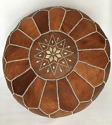 100% Leather Handcrafted Moroccan Pouffe Tan brown