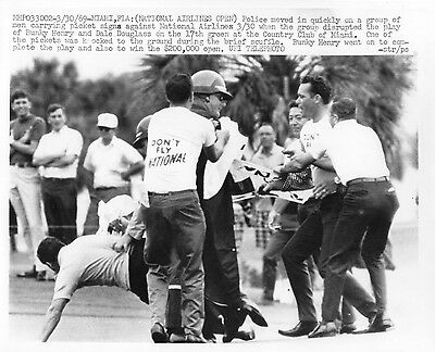 Vintage Golf Photograph National Airlines Open Miami Protesters Disrupt 1969