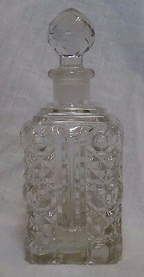 """Vintage 7"""" Tall Clear Pressed Glass Square Decanter with Stopper"""