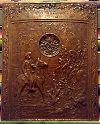 "Antique Copper Fireplace Insert ""Summer Cover"" With Cowboy - Great Decor Piece!"