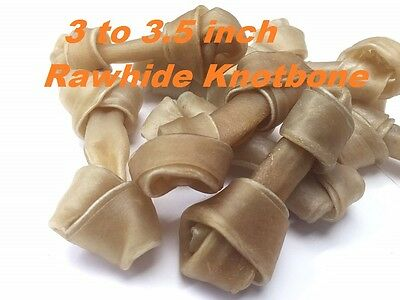 Top Quality 3 - 3.5'' Inch Rawhide Knotbone Natural Dog Food Chew Treat Free P&P