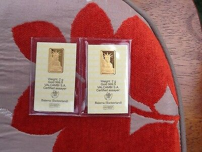 2 x 2 Grams CREDIT SWISS - 999.9 PURE GOLD!