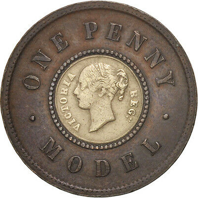 [#480163] Great Britain, Victoria, Penny, 1844, VF(30-35), Copper And Brass