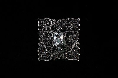 Antique Russian Empire Filigree Bronze Brooch Pin With  Rock Crystal Victorian