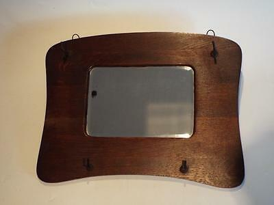 Vintage Art Deco Period - Wood Framed Hall Mirror With Hooks