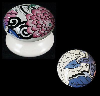 Packs Of White Ceramic Cupboard Drawer Knobs Woodstock Pink / Blue Flower Design