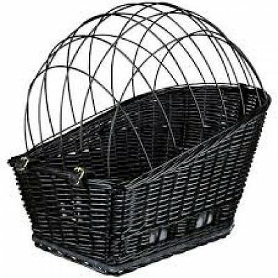 Trixie Black Wicker Rear-Mounted Bicycle Basket with cushion - For Dogs, Cats