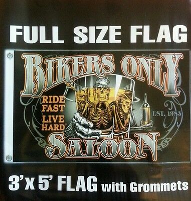 Bikers Only Saloon 3' by 5' Flag. FREE SHIPPING