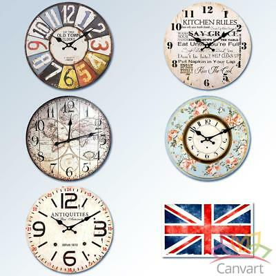 Large Wooden Wall Clock Shabby Chic Kitchen Home Office Vintage Antique Style