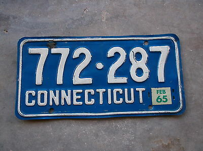 Connecticut 1965  License Plate  #  772 - 287