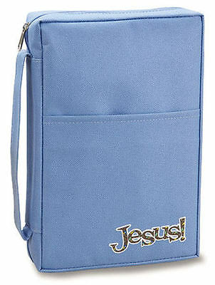 "Blue ""JESUS"" BIBLE CASE COVER Zippered Nice Heavy Canvas ~ NEW!"