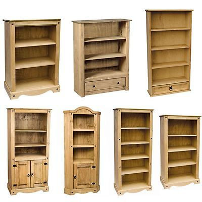 Corona Panama Bookcase Display Unit Solid Pine Waxed Mexican Rustic Furniture