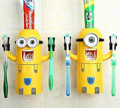 Minions Toothpaste dispenser and Holder - automatically dispenses toothpaste