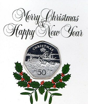 Isle Of Man Sterling Silver Proof Christmas 50p 1980 Mail Coach & Steamer Card