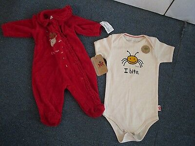 2 For 1 Infant Outfits:i Bite By Hippo Works(12-18 Mo)1St Xmas(0-3Mo)Bright Fut.