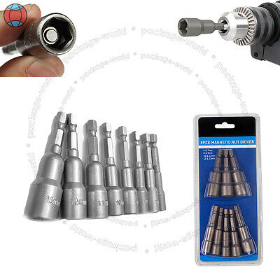 """8pc 1/4"""" Hex Magnetic Nut Driver Metric Socket Impact Drill Bits 6 to 13mm DCUK"""