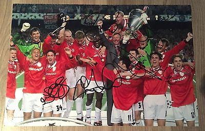Manchester Man United Hand Signed Autograph Photo Treble Team 1999 Football COA
