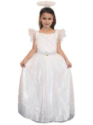 Deluxe Girls Childs White Nativity Play Angel Fancy Dress Costume Wings Halo New