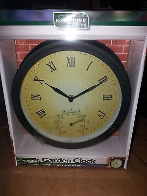 Kingfisher Garden Clock With Thermometer