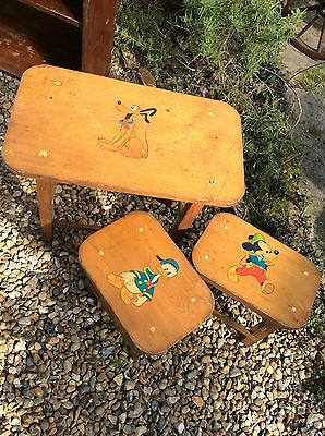 Vintage Disney Children's Table And Stools 1950's