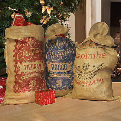 PERSONALISED CHRISTMAS SACK,Santa Sack Large Vintage Hessian jute
