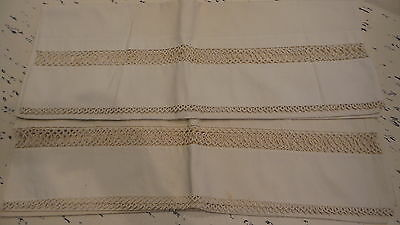 Antique PILLOWCASE PAIR w/ TATTED INSERT & EDGE