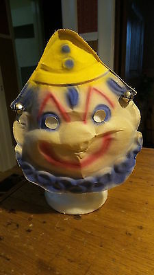 Antique Gauze Child's CLOWN MASK Bells