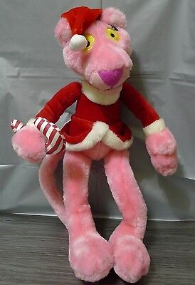 Pink Panther Christmas Santa Plush With Candy Cane Wired Legs & Arms 2002
