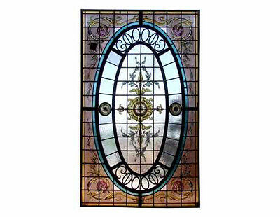 Antique Stained & Hand Painted Leaded Glass Panel #A4016