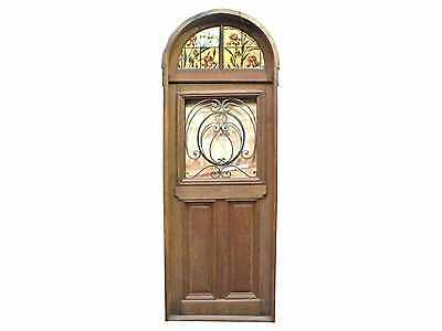 Antique Arched Top Front Door w/ Wrought Iron Inserts #D1099