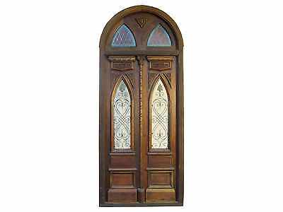 Double Entry Door with Stained Glass Transom #B1389
