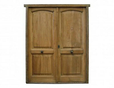 Restored Antique Solid Double Entry Door w/ Raised Panels #D1200