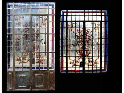 Double Iron Door w/ Leaded And Hand Painted Glass #4359