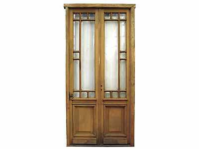 Restored Antique Double Patio Door Beveled Glass #D1175