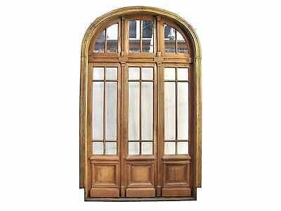 Arched Wooden Triple Patio Door w/ Transom Clear Glass #D1177
