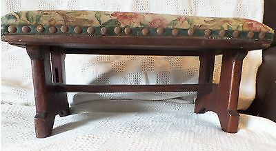 Antique Oak Wooden Bench Stool w/ Floral Old Tapestry Upholstery
