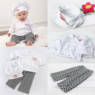 Baby Boy Girl Cook Chef Costume Photo Props Party Outfit Top Pants Hat Set 6-24M