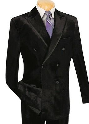 Men's Black Velvet Double Breasted Classic Fit Tuxedo Suit w/ Sateen Trim NEW